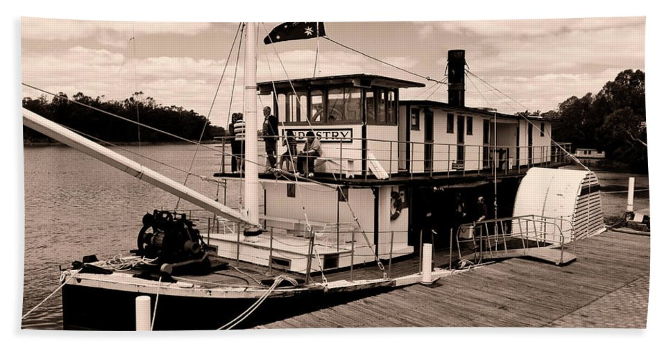 Murray River Beach Towel featuring the photograph Paddlesteamer by Douglas Barnard