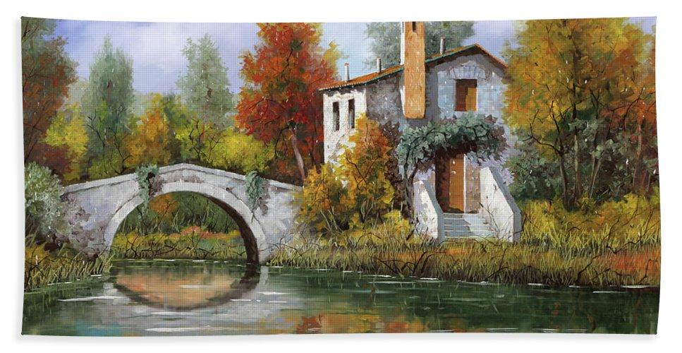 Landscape Beach Towel featuring the painting Paesaggio Pastellato by Guido Borelli