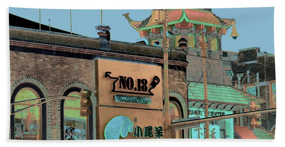 China Town Beach Towel featuring the photograph Pagoda Tower Chinatown Chicago by Marianne Dow