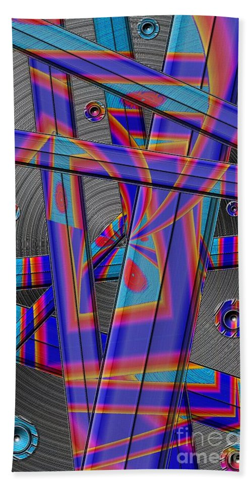 Abstract Beach Towel featuring the digital art Painted Blades by Ron Bissett
