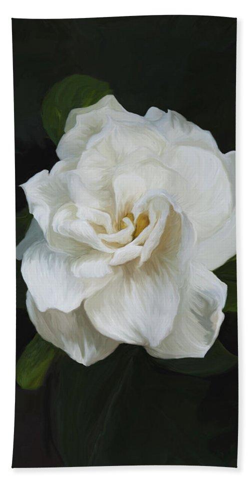 Gardenia Beach Towel featuring the photograph Painted Gardenia by Phyllis Denton