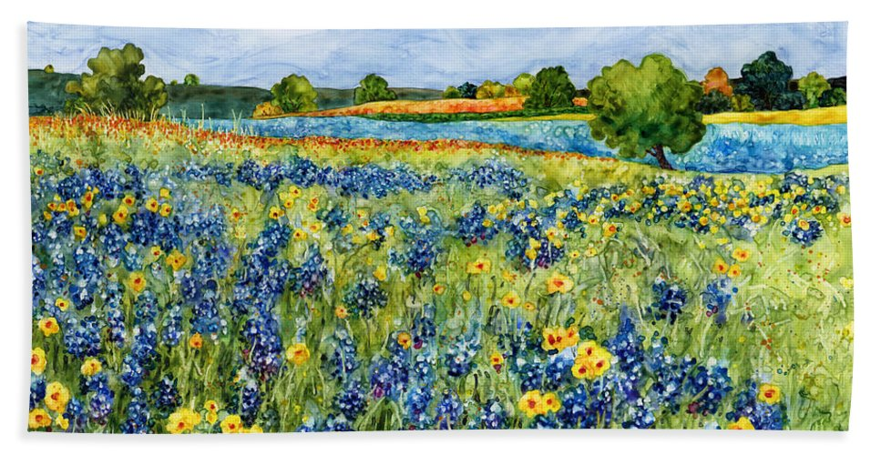 Bluebonnet Beach Towel featuring the painting Painted Hills by Hailey E Herrera
