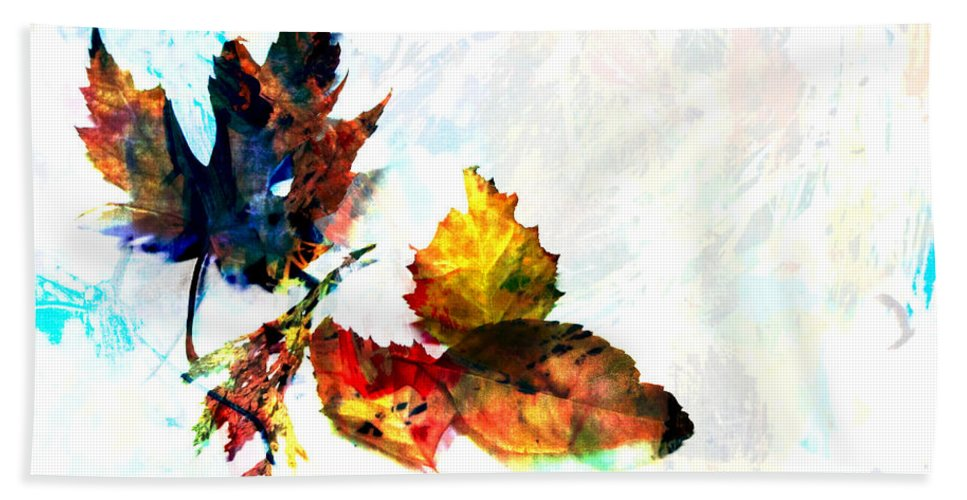 Leaf Beach Towel featuring the photograph Painted Leaves Abstract 2 by Anita Burgermeister