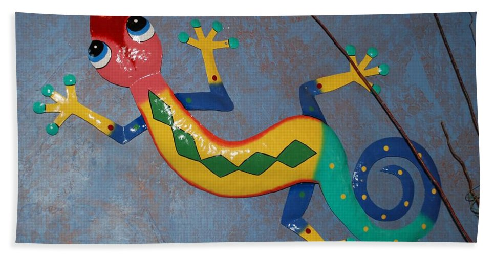 Pop Art Beach Towel featuring the photograph Painted Lizard by Rob Hans