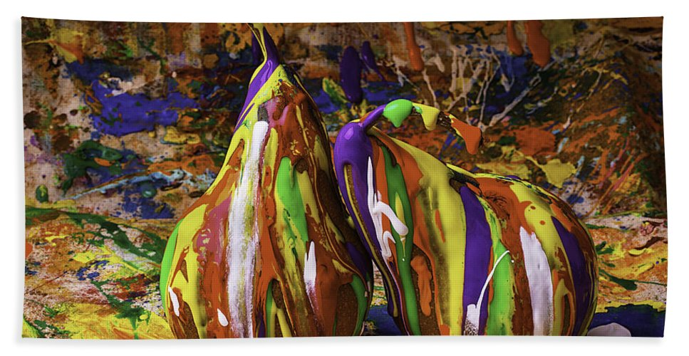 Painted Beach Towel featuring the photograph Painted Pears by Garry Gay