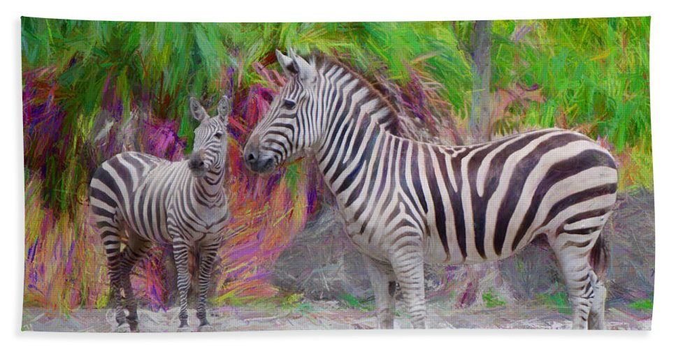 African Zebras Beach Towel featuring the painting Painted Zebra by Judy Kay