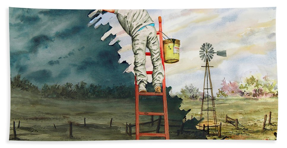 Landscape Beach Towel featuring the painting Paintin Up A Storm by Sam Sidders