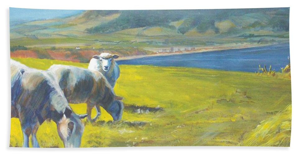 Sheep Painting Beach Towel featuring the painting Painting Of Sheep On A Cliff Top by Mike Jory