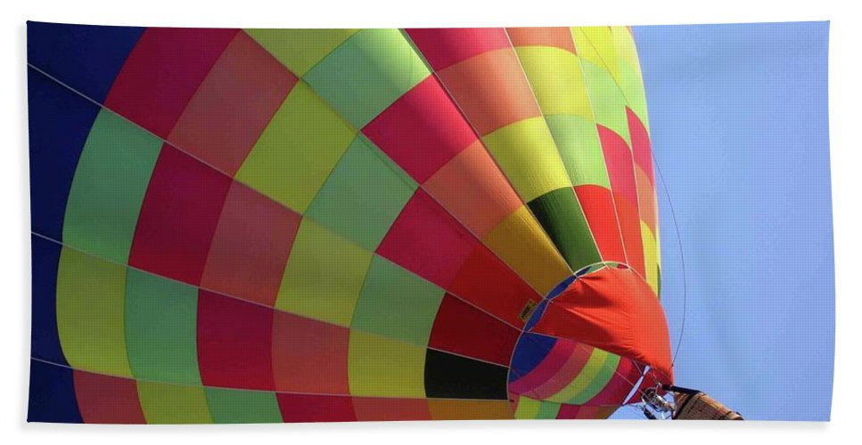 Hot Air Balloon Beach Towel featuring the photograph Painting The Sky by Ilaria Andreucci