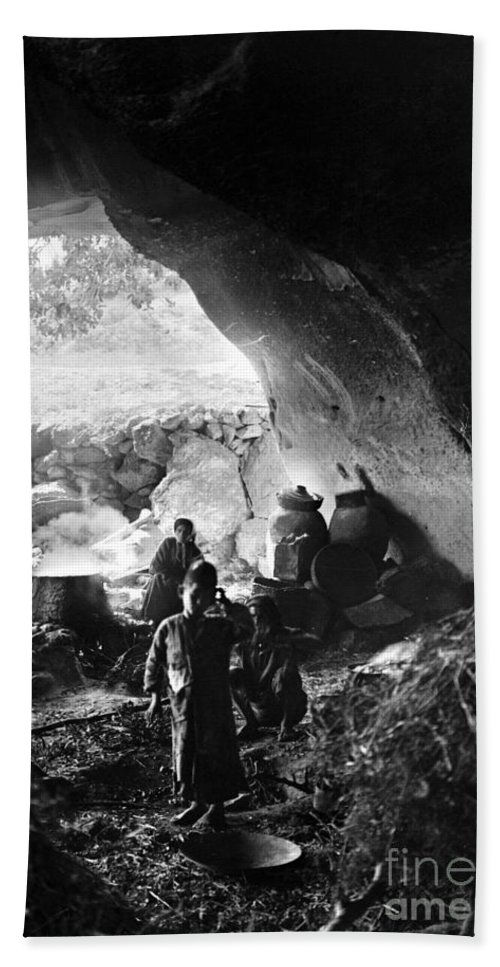 1910s Beach Towel featuring the photograph Palestine: Cave Dwelling by Granger