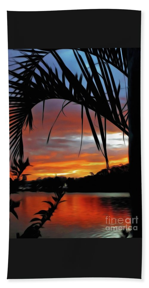 Palm Framed Sunset Beach Towel featuring the photograph Palm Framed Sunset by Kaye Menner