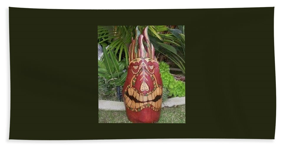 Palm Frond Beach Towel featuring the sculpture Palm Frond Tiki by Marty Martinosky