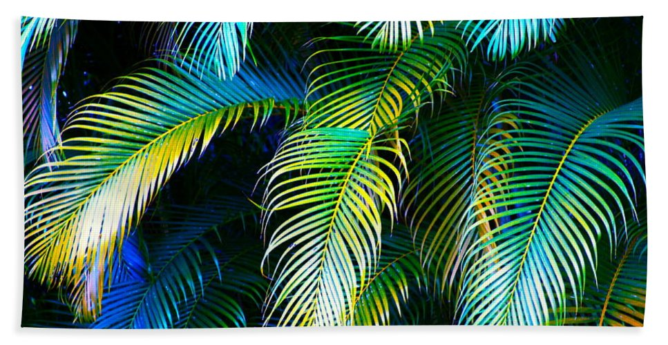 Blue Beach Towel featuring the photograph Palm Leaves in Blue by Karon Melillo DeVega