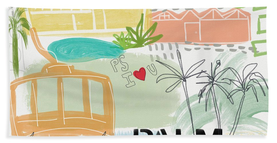 Palm Springs California Beach Towel featuring the painting Palm Springs Cityscape- Art by Linda Woods by Linda Woods