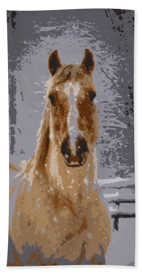 Horse Beach Towel featuring the photograph Palomino In The Snow by Tina Meador