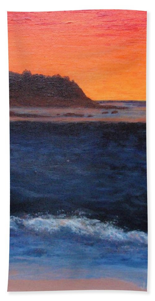 Sunset Beach Towel featuring the painting Palos Verdes Sunset by Jamie Frier