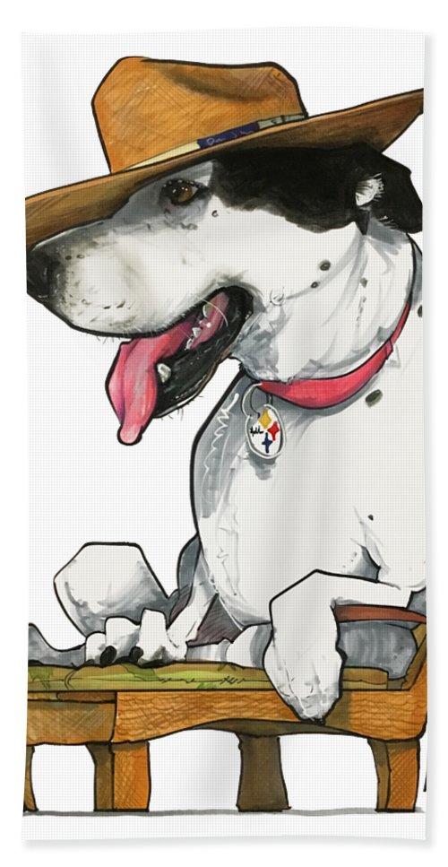 Pet Portrait Beach Sheet featuring the drawing Paluzzi 7-1383 by John LaFree