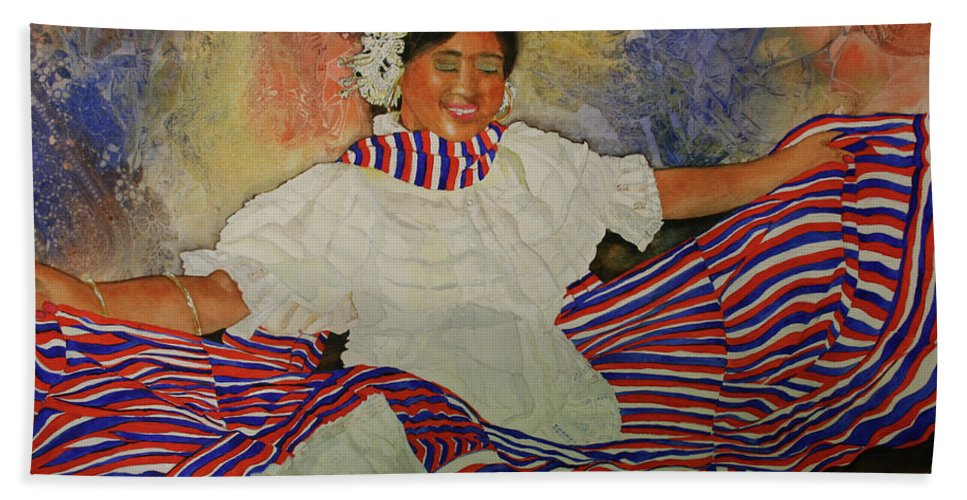 Woman Beach Towel featuring the painting Panama Dancer by Jean Blackmer