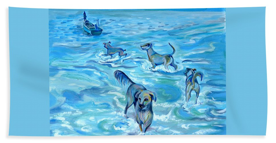 Impression Beach Towel featuring the painting Panama. Salted Dogs by Anna Duyunova