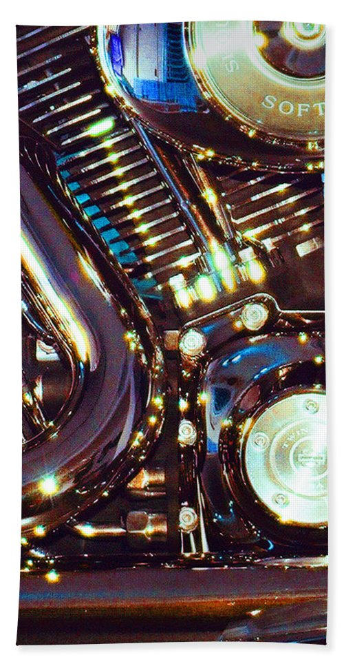 Harley Davidson Beach Towel featuring the photograph Panel II from Mechanism by Steve Karol