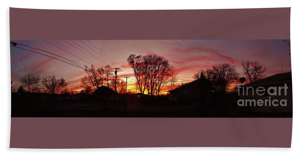 Sunset Beach Towel featuring the photograph Panorama  Mid Winter Sunset In The City    Indiana by Rory Cubel