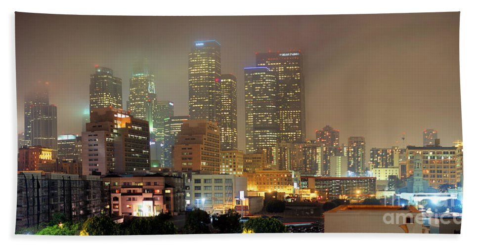 Panorama Of Downtown Los Angeles Beach Towel featuring the photograph Panorama Of Downtown Los Angeles In The Fog by Wernher Krutein