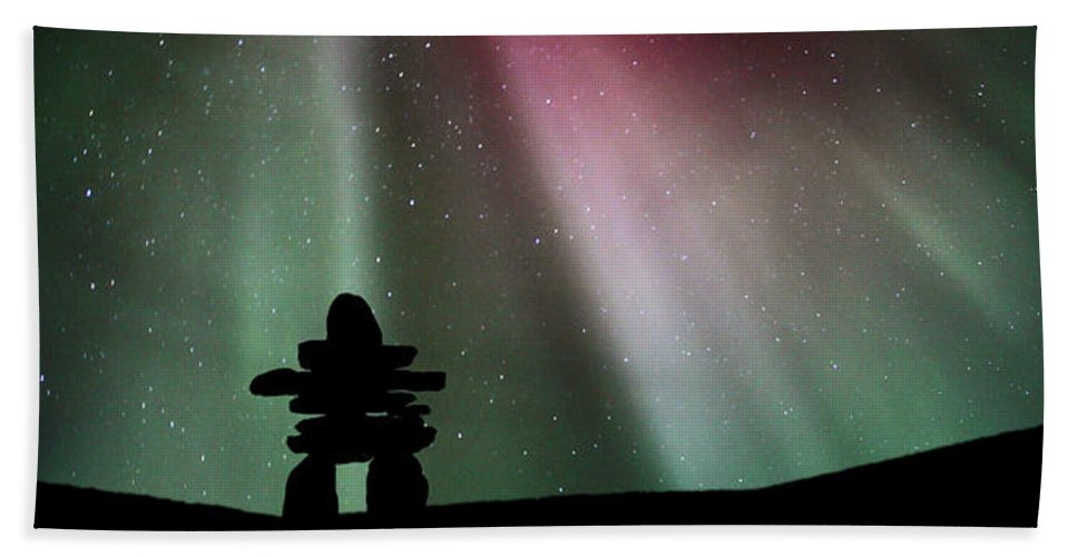 Beach Towel featuring the digital art Panoramic Inukshuk Northern Lights by Mark Duffy