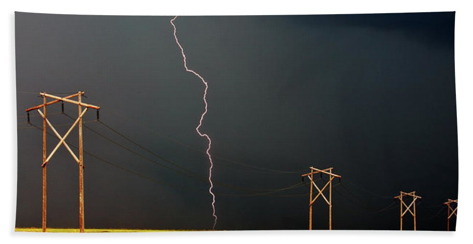 Beach Towel featuring the digital art Panoramic Lightning Storm And Power Poles by Mark Duffy