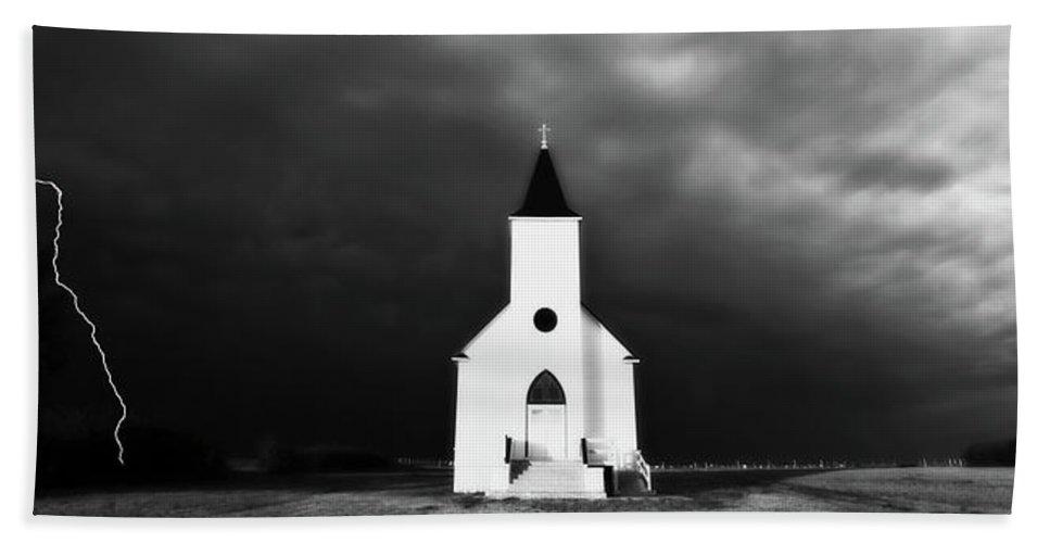 Beach Towel featuring the digital art Panoramic Lightning Storm And Prairie Church 2 by Mark Duffy