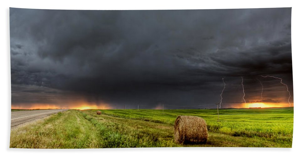 Beach Towel featuring the digital art Panoramic Lightning Storm In The Prairies by Mark Duffy