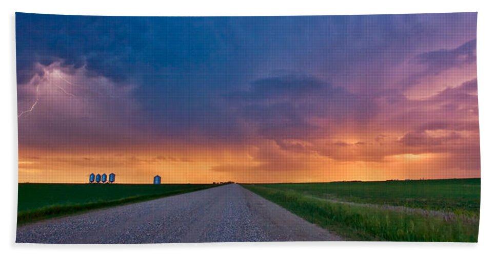 Beach Towel featuring the digital art Panoramic Prairie Lightning Storm by Mark Duffy