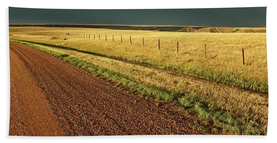 Beach Towel featuring the digital art Panoramic Prairie Storm Canada At Sunset by Mark Duffy