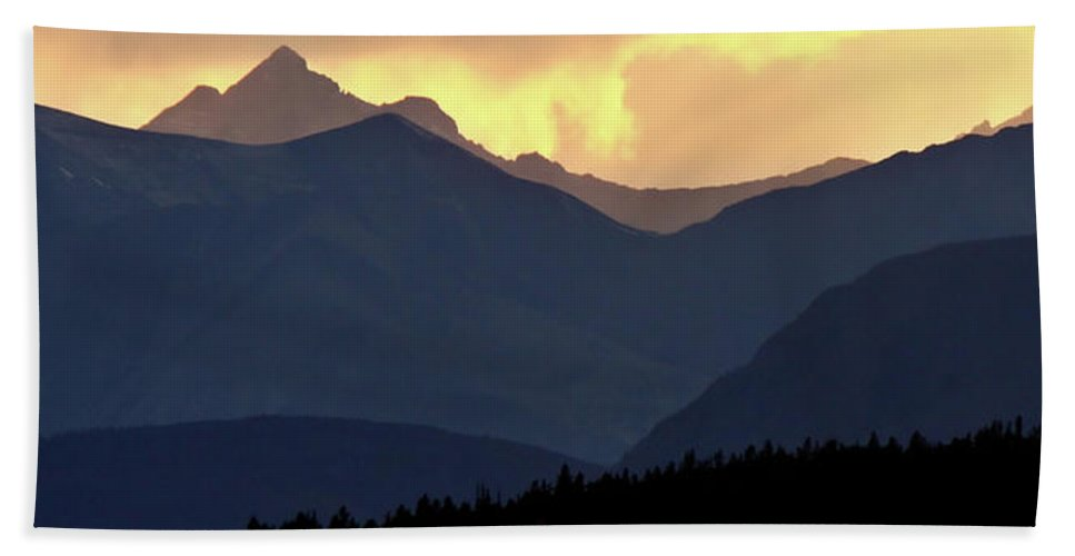 Beach Towel featuring the digital art Panoramic Rocky Mountain View At Sunset by Mark Duffy