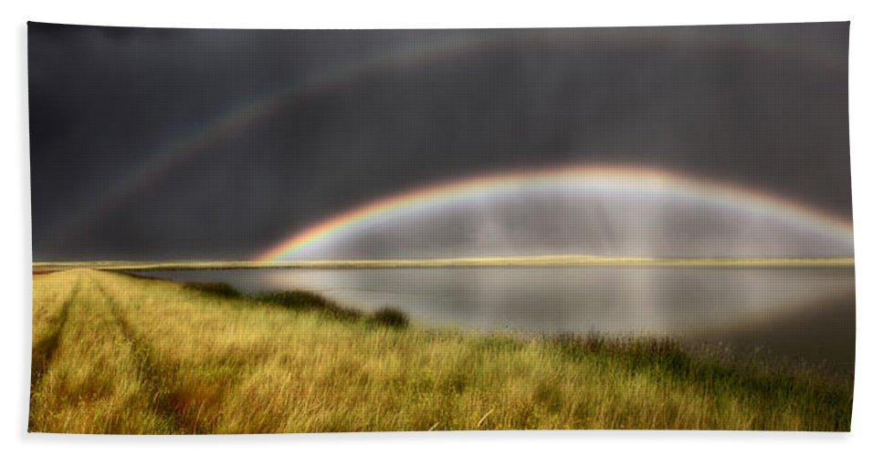 Beach Towel featuring the digital art Panoramic Storm In The Marshes by Mark Duffy