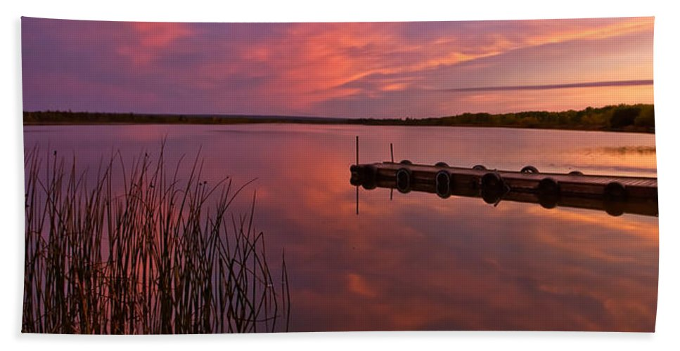 Beach Towel featuring the digital art Panoramic Sunset Northern Lake by Mark Duffy