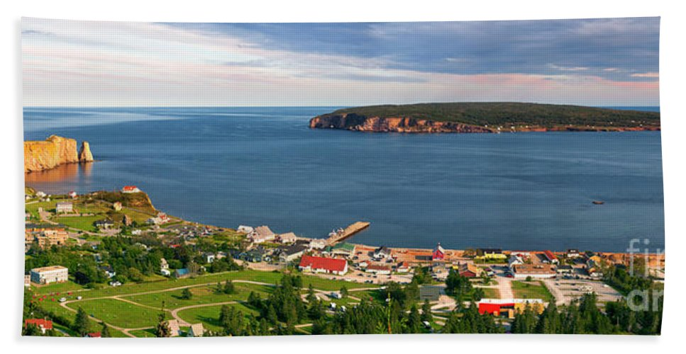 Perce Beach Sheet featuring the photograph Panoramic View In Perce Quebec by Elena Elisseeva