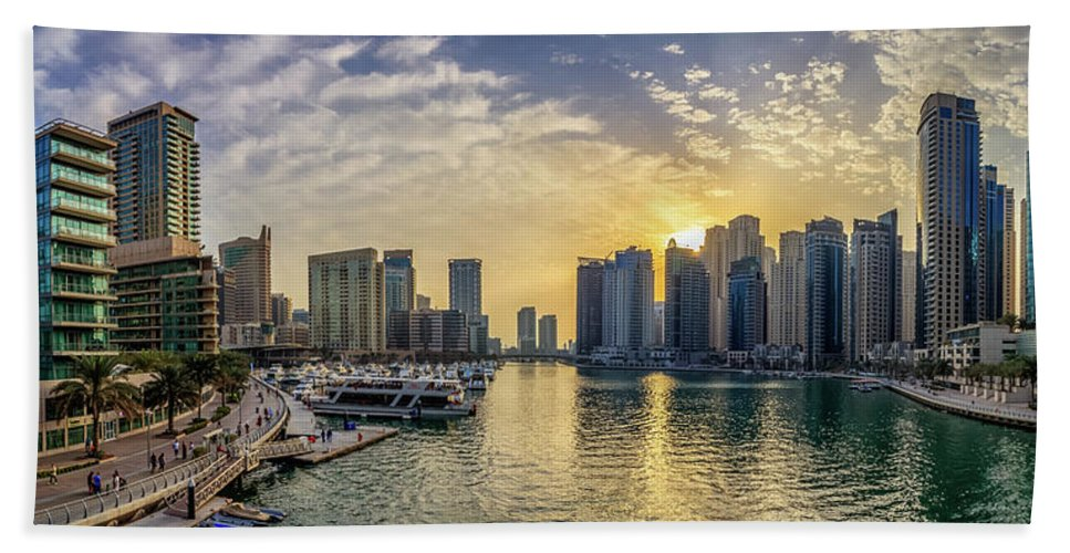 Dubai Beach Towel featuring the photograph Panoramic View Of Dubai Marina During Sunset by Mohammed Shamaa