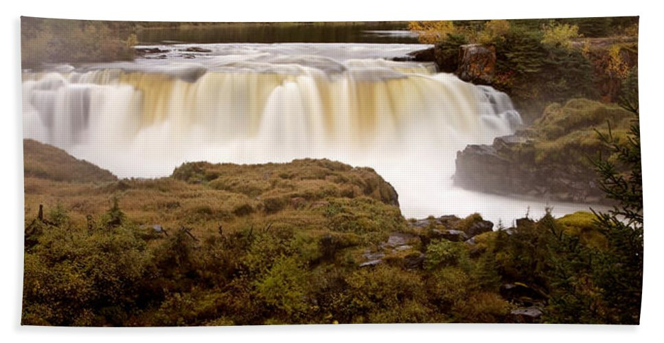 Beach Towel featuring the digital art Panoramic Waterfall Manitoba by Mark Duffy