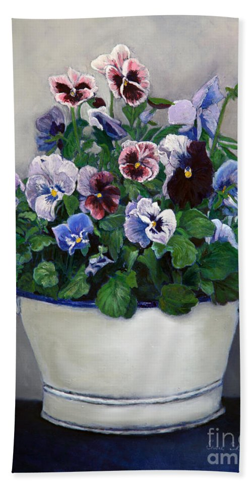 Painting Beach Towel featuring the painting Pansies by Portraits By NC