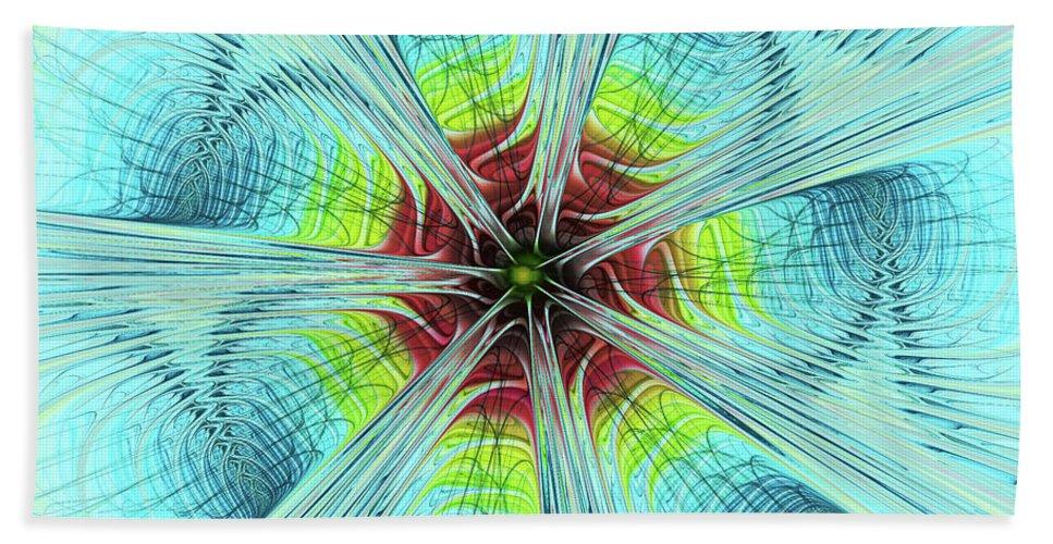Pansy Fractal Beach Towel featuring the digital art Pansy Fractal by Deborah Benoit