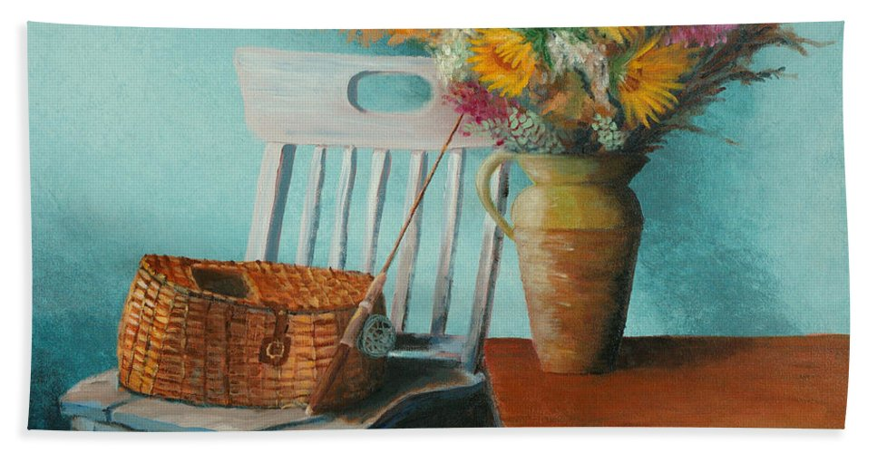 Floral Beach Towel featuring the painting Papa's Pole by Jerry McElroy