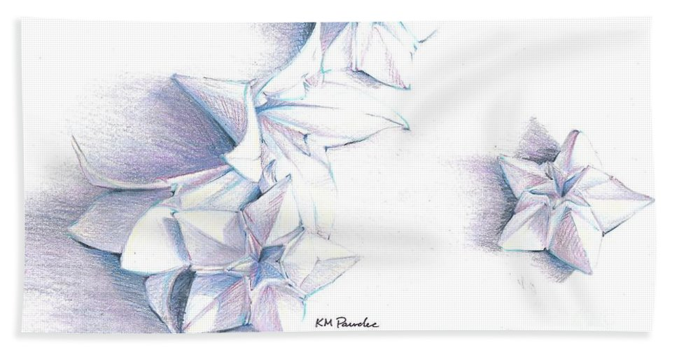 Still Life Beach Towel featuring the drawing Paper Petals by K M Pawelec