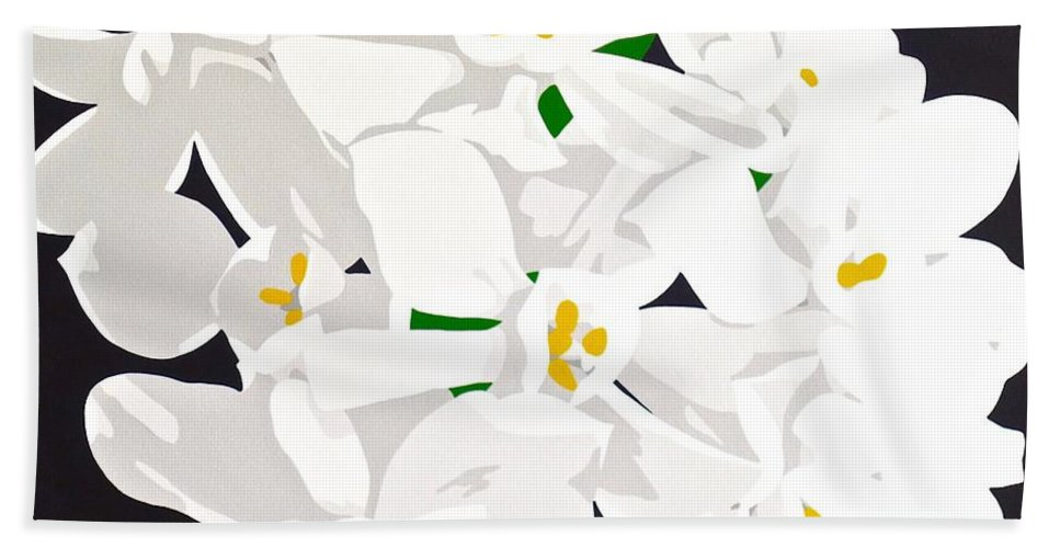 Acrylic Beach Towel featuring the painting Paperwhites by Susan Porter