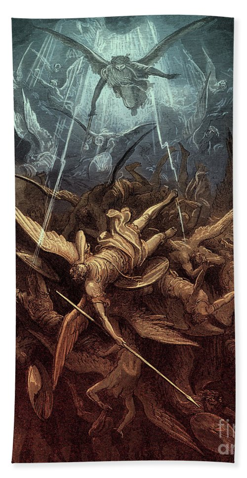Paradise Lost Beach Towel featuring the painting Paradise Lost, Fall Of The Rebel Angels, by Gustave Dore