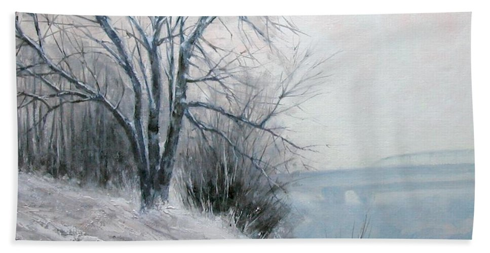 Art Beach Towel featuring the painting Paradise Point Bridge Winter by Jim Gola
