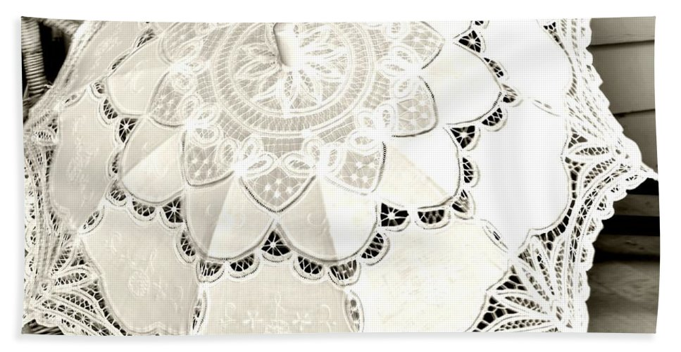 White Beach Towel featuring the photograph Parasol Display by Kathleen Struckle