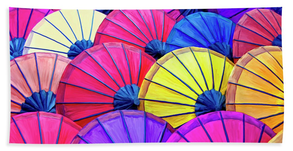 Parasols Beach Towel featuring the painting Parasols by Dominic Piperata
