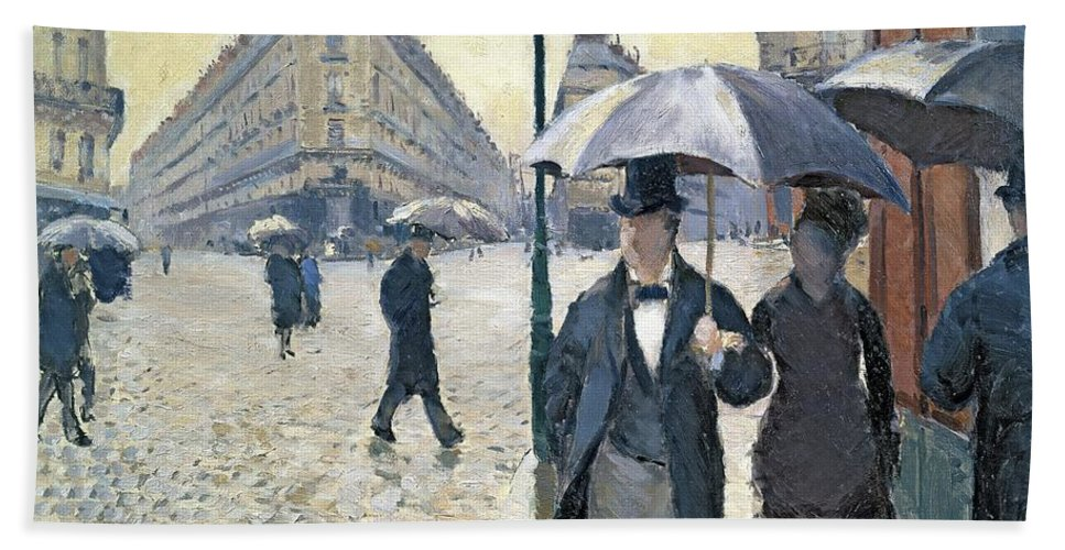 Sketch Beach Towel featuring the painting Paris a Rainy Day by Gustave Caillebotte