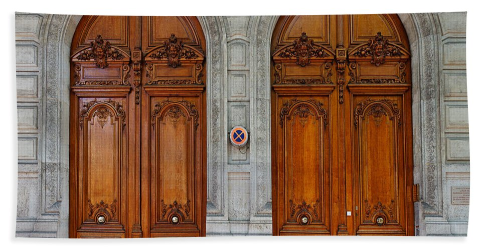 Carved Beach Towel featuring the photograph Paris Doors by Louise Heusinkveld