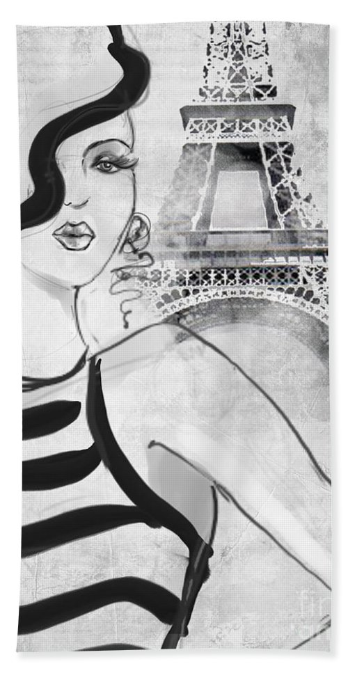 Jodi Pedri Beach Towel featuring the drawing Paris Grey by MGL Meiklejohn Graphics Licensing